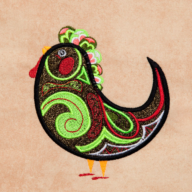 Bfc embellished funky roosters