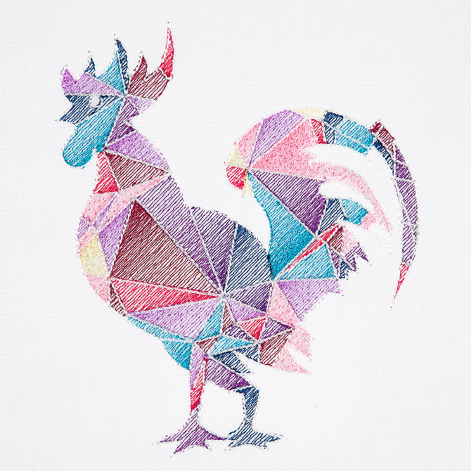 Bfc colorful abstract roosters