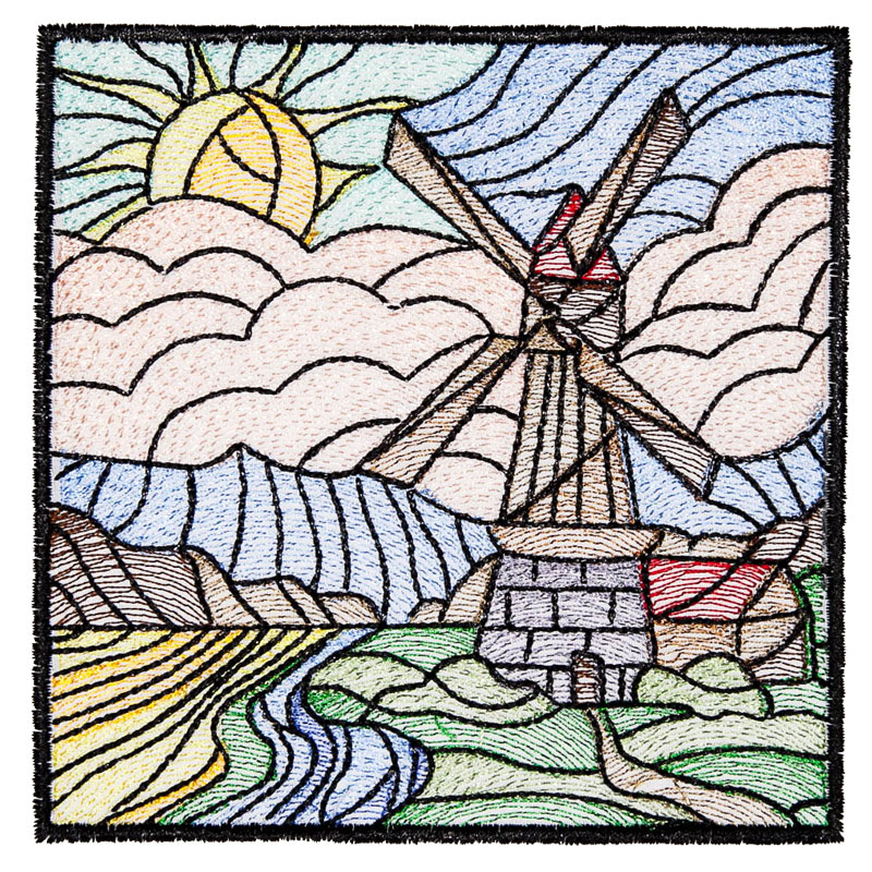 25 Modern Ideas To Use Stained Glass Designs For Home: BFC1611 Stained Glass Quilt Squares- Landscapes