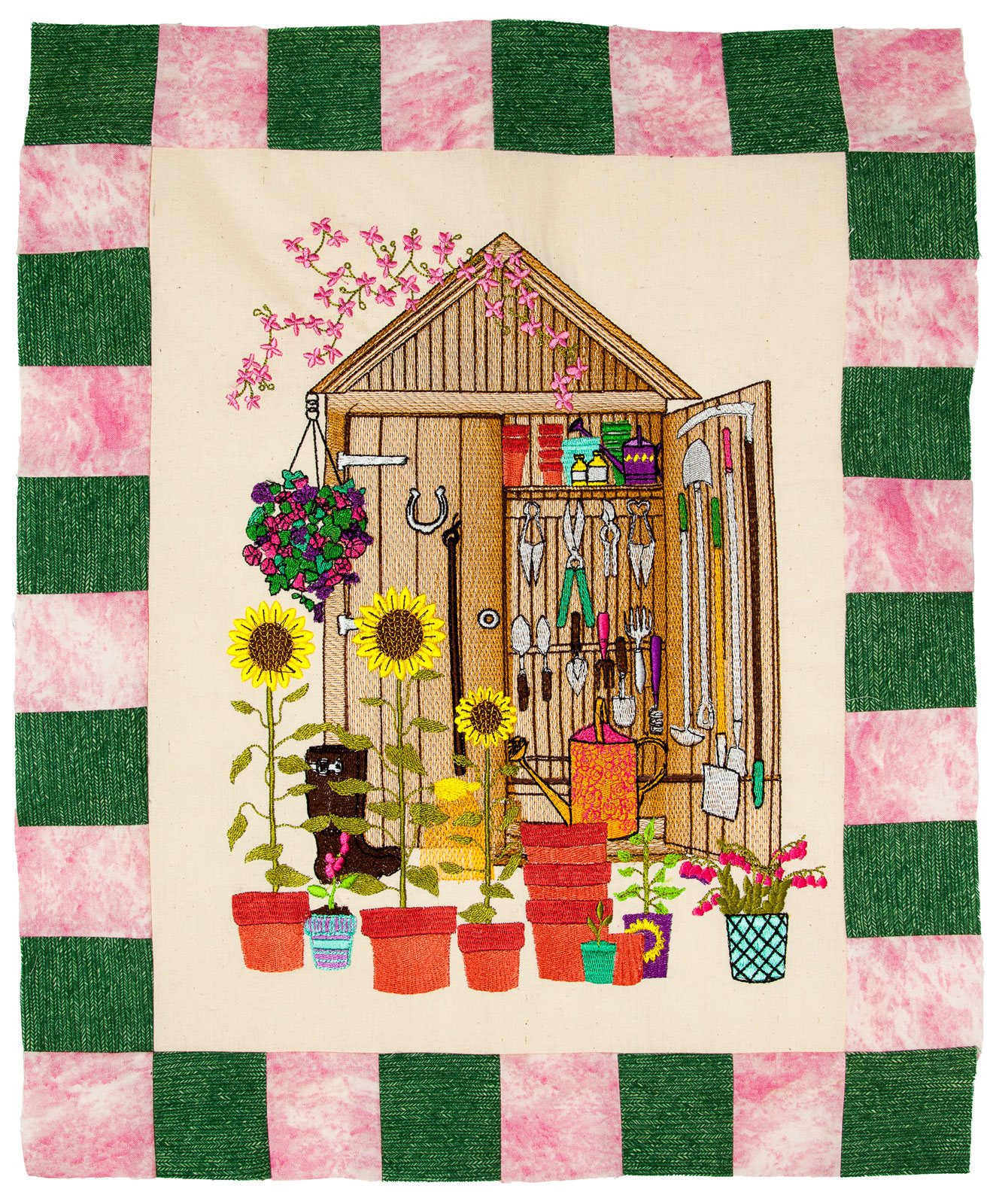 Bfc1633 gardening quilt collection the tool shed for Garden shed quilting