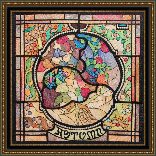 Bfc1729 Tiffany S Stained Glass Four Seasons Autumn