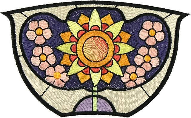 BFC0894 Stained Glass-Art Nouveau Circle in a Square
