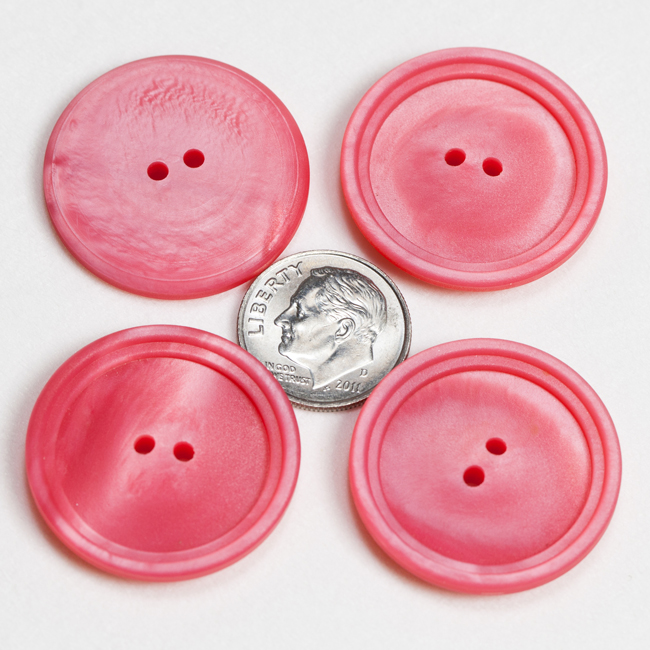 Vintage Acrylic Buttons - Bright Rose