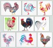 BFC1533 Colorful Abstract Roosters