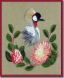 BFC0655 South African Grey Crowned Crane with Flowers