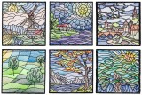 BFC1611 Stained Glass Quilt Squares- Landscapes