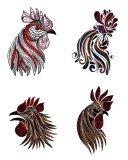 BFC1745 Four Tribal Rooster Portraits