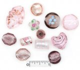 Assorted Lampwork Beads - Purples and Pinks