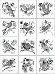 BFC1217 Decorative Elements Series Blackwork Birds
