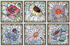 BFC1481 Stained Glass Floral Squares
