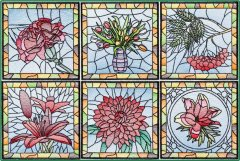 BFC1484 Stained Glass Floral Squares II