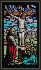 BFC1570 Large Stained Glass-Jesus on the Cross