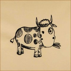 BFC1693 Sketchy Pals - Blackwork  Version - Cow