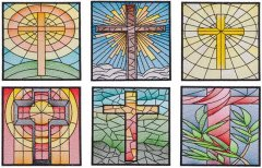 BFC1801 QIH- Stained Glass Quilt Squares- Crosses