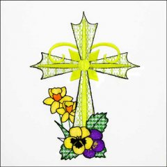 BFC31611 Cross with Daffodils and Pansies