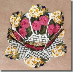BFC0333   Lace Bowl & Doily  Watercolor Bouquet