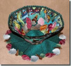 BFC0340 Lace Bowl & Doily  Coral Reef
