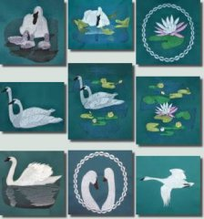 BFC0361 Swans & Water Lilies
