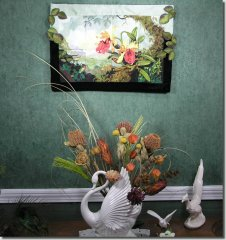 BFC0569 Window - Orchids & The Hummingbird