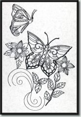 BFC0981 Fantasy Butterflies and Flowers Blackwork