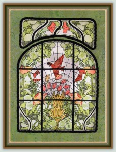 BFC1056 Stained Glass Flight Among the Nasturtiums