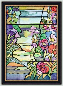 BFC1478 Tiffany Stained Glass Peony Window