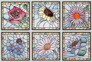 BFC1481 Stained Glass floral Squares Thread Kit