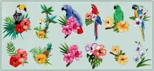 BFC1507 Tropical Birds and Flowers Thread Kit