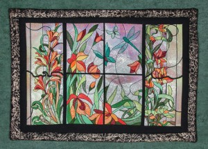 BFC1577 Stained Glass Floral Triptych