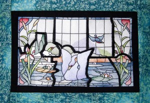BFC1591 Stained Glass- Lake Vista with Swan