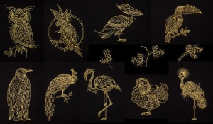 BFC1639 Quirky Golden Birds