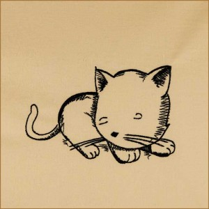 BFC1693 Sketchy Pals - Blackwork  Version - Sleeping Kitten