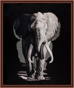 BFC1698 Large Black and White Elephant
