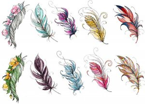 BFC1787 Watercolor Feathers