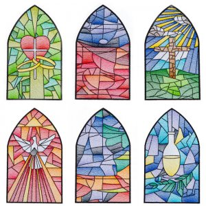BFC1842 Stained Glass Church Windows