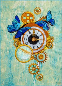 BFC1843  Steampunk Clock with Butterflies