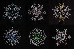 BFC1884 Six Snowflakes on Black Fun Set