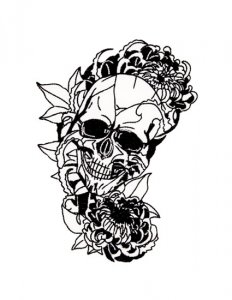 Skull with Chrysanthemums