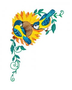 BFC31556 Blue Birds and Sunflowers