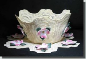 BFC0327   Lace Bowl & Doily  Three Dimensional Dogwood
