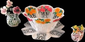BFC0422 Lace Bowl & Doily Flower Vases