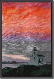 BFC0606 Window - A Lighthouse at Dusk