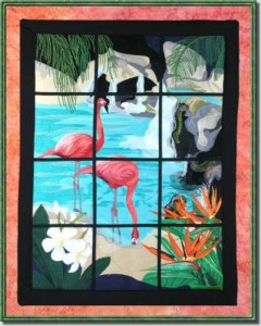 BFC0645 Window-Flamingo Paradise