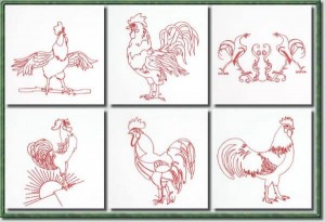 BFC0648 Redwork Roosters
