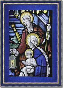 BFC0909 Stained Glass-Joseph, Mary and the Infant Jesus Christ