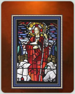 BFC0951 Stained Glass- Christ with Lambs