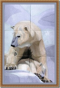 BFC0979 Window-Mother Polar Bear and Baby