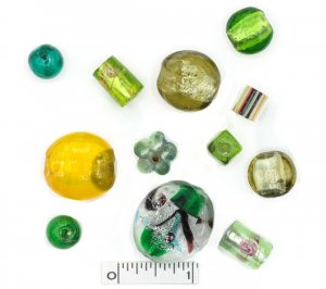 Assorted Lampwork Beads - Greens
