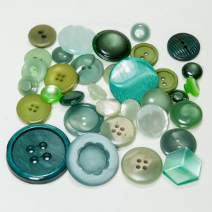 Vintage Acrylic Buttons -Blue Greens