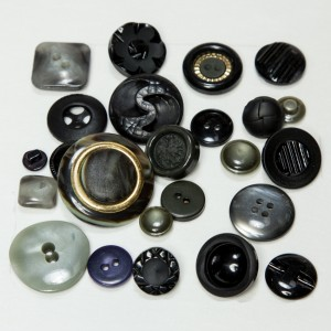 Vintage Acrylic Buttons - Blacks and Grays